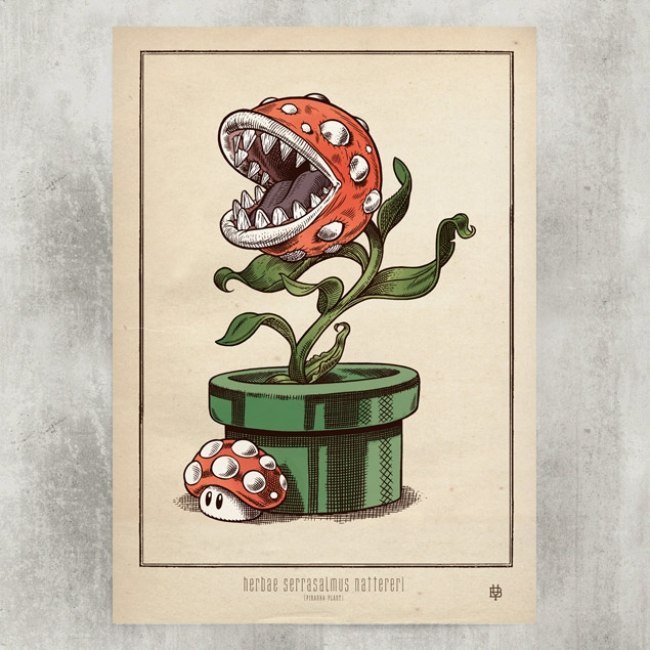 Piranha Plant Blackyard Illustration Posters Berne Switzerland