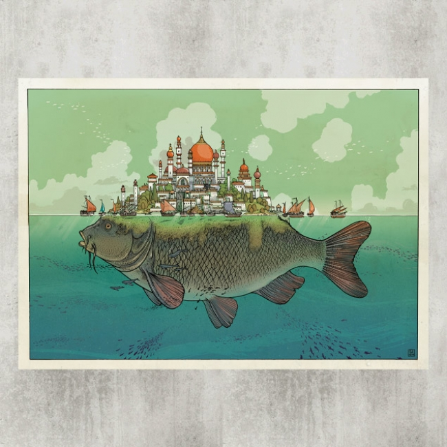 Sindbad Fish City Blackyard Illustration Posters Berne Switzerland