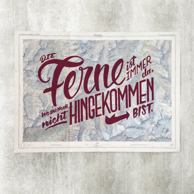 "Vintage map ""Ferne"" Blackyard Illustration Posters Berne Switzerland"